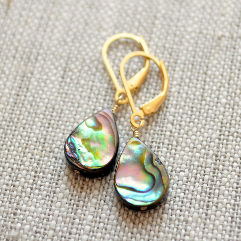 Gold Earrings, Abalone Paua Shell, in Purple Peacock Colors