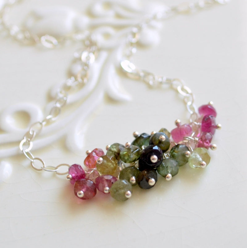 Gemstone Necklace with Tourmaline Cluster
