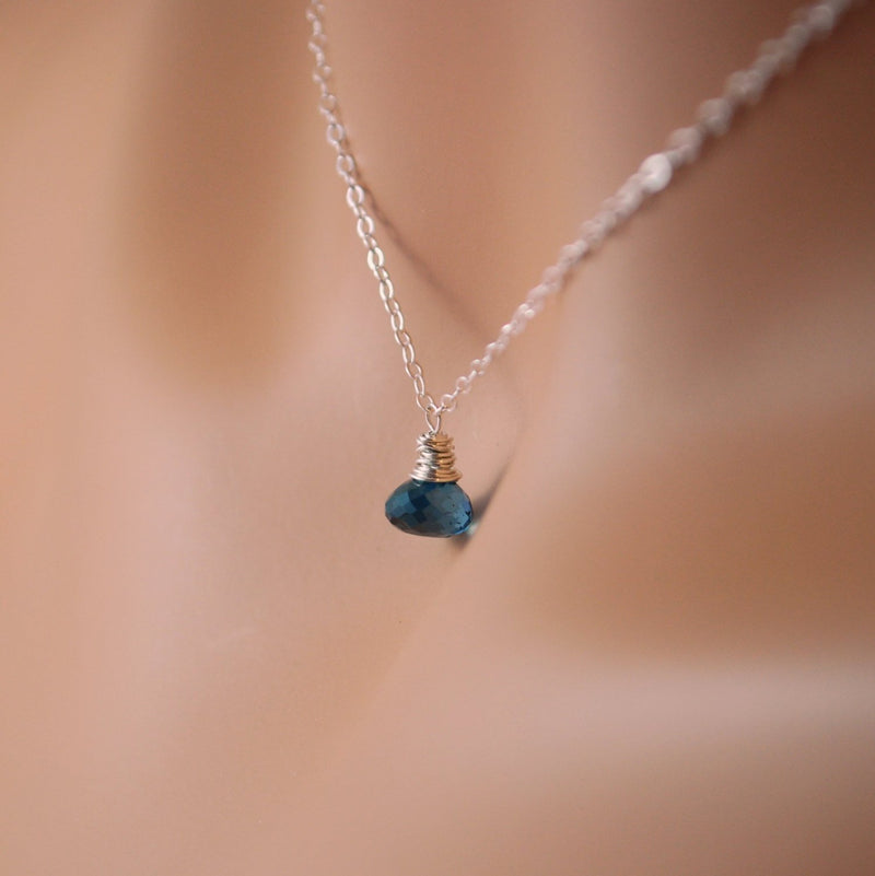 Choker Necklace with London Blue Topaz