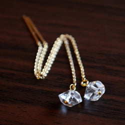 Herkimer Diamond Earrings with Silver or Gold Threaders