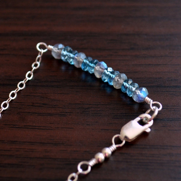 Stacking Bracelet with London Blue Topaz, and Labradorite
