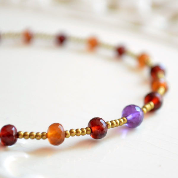 Beaded Bracelet with Garnet Spessartite Amethyst