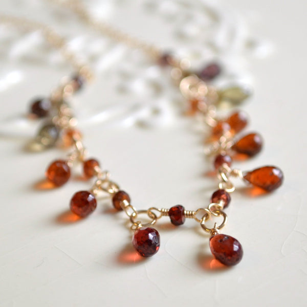Gemstone Necklace in  Fall Colors with Tundra Sapphire