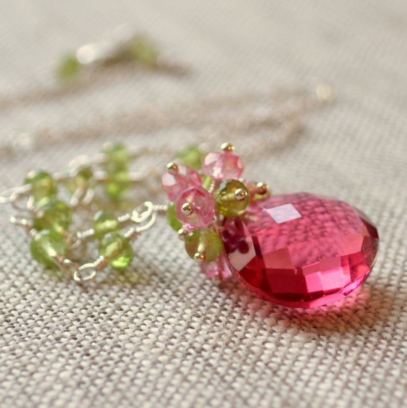 Peridot Necklace with a Coral Pink Gemstone Focal