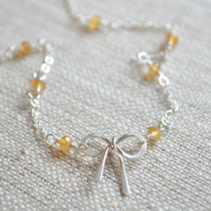 Bow Necklace with Citrine Gemstones
