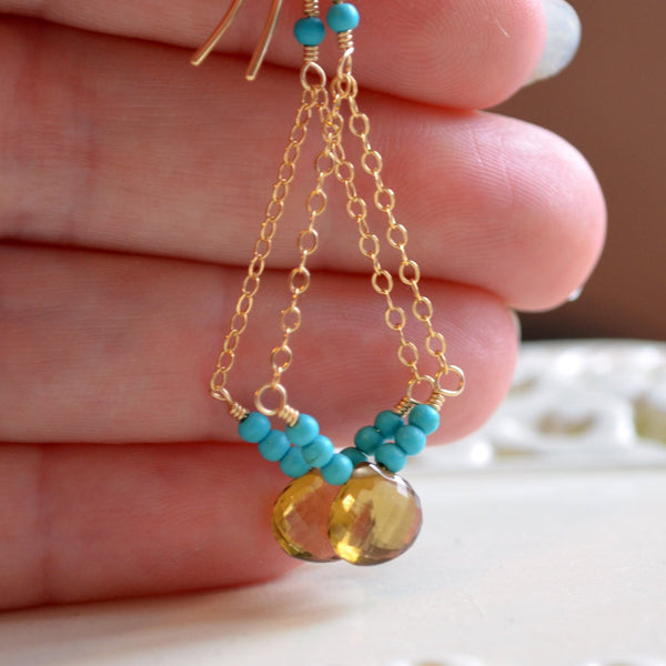 Beer Quartz Earrings with Genuine Turquoise Gemstone
