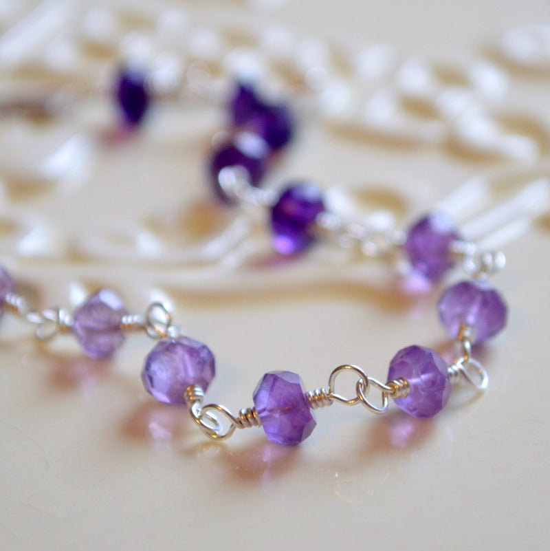Real Amethyst Bracelet with Shaded Ombre Purple