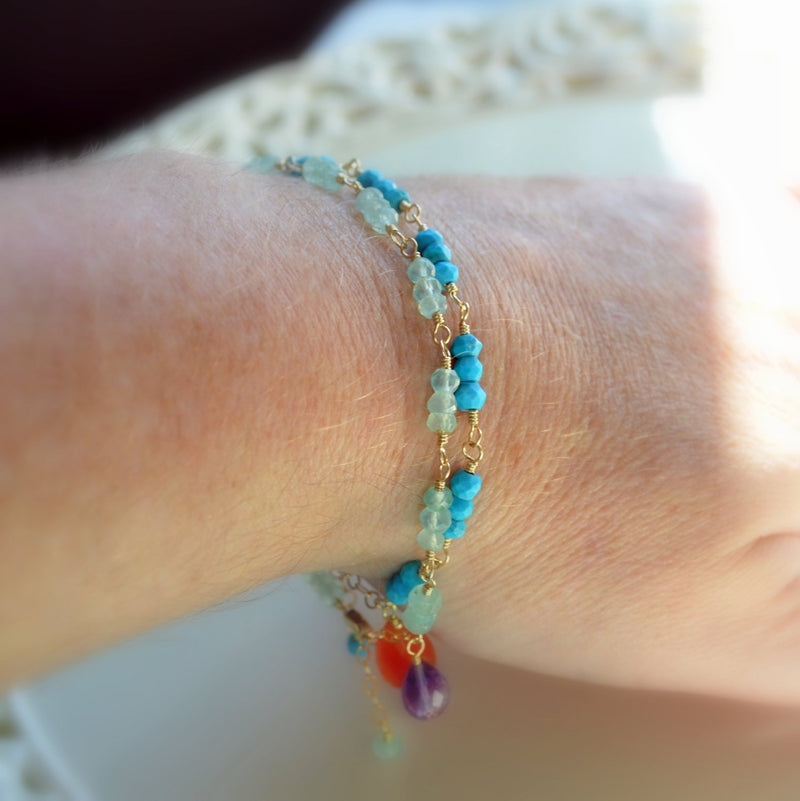 Real Turquoise Bracelet with Orange Carnelian