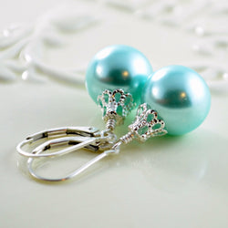 Holiday Earrings with Interchangeable Colours and Glass Pearl