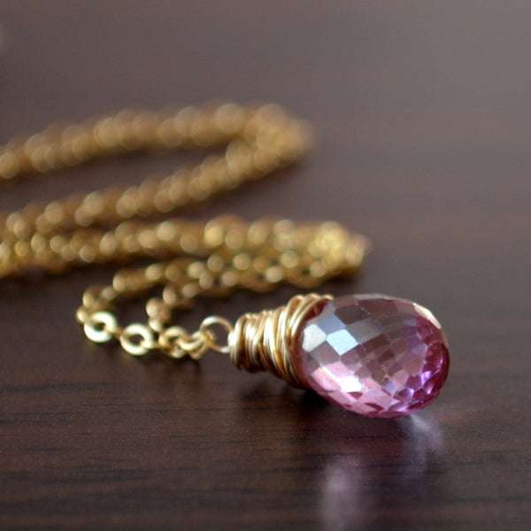 Real Pink Topaz Necklace, Wire Wrapped Pendant
