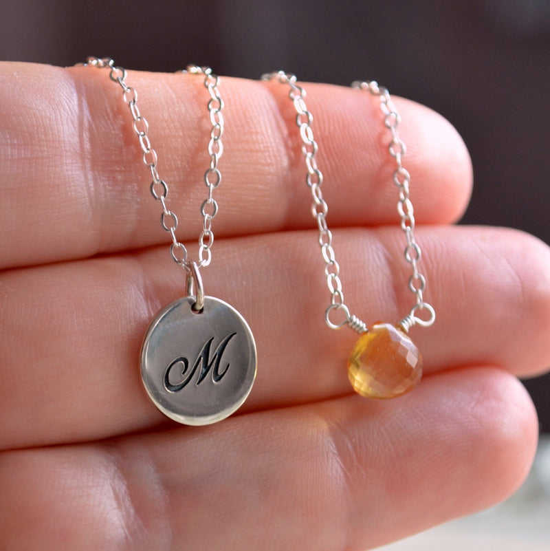 Layering Necklaces in Silver with Initial and Birthstone