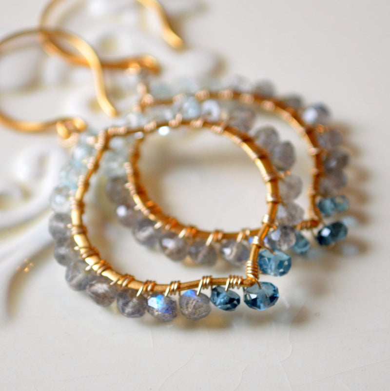 Gemstone Earrings with Labradorite London Blue Topaz