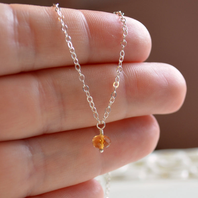 Dainty Citrine Necklace for