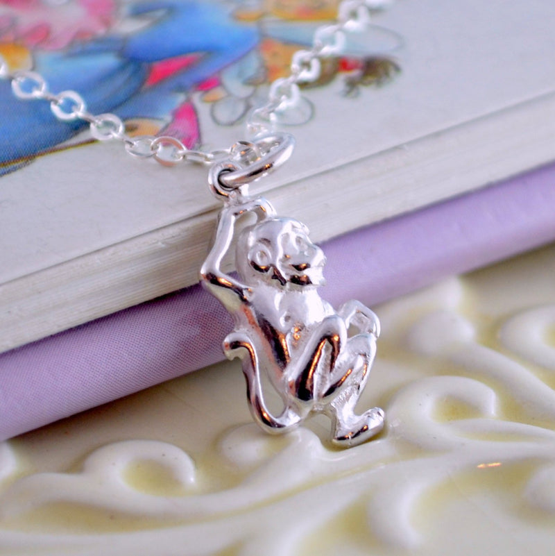 Little Monkey Necklace in Sterling Silver