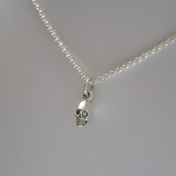 Skull Necklace in Sterling Silver for Boys or Girls