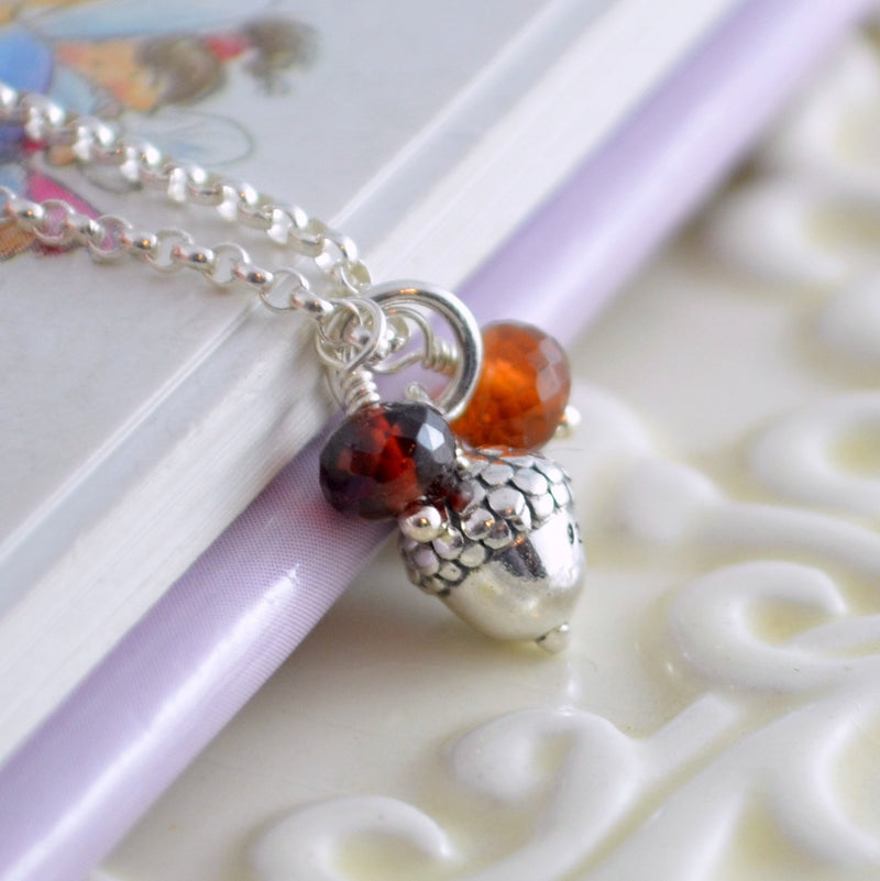 Fall Flower Girl Necklace with Sterling Acorn