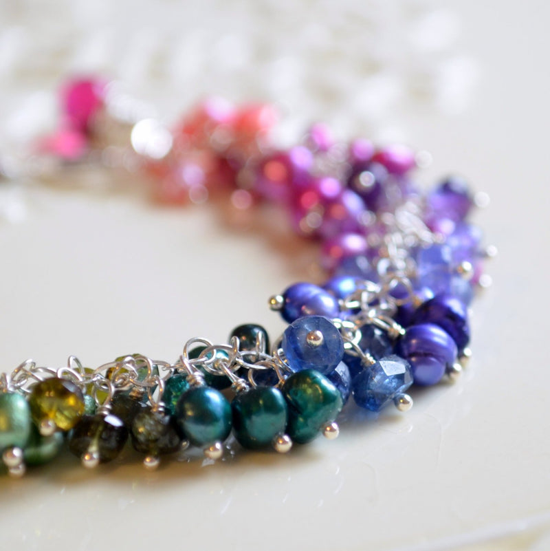 Bright Rainbow Bracelet with Freshwater Pearl and Gemstone Cluster Cuff