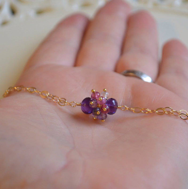 Real Amethyst Bracelet with Pink Tourmaline