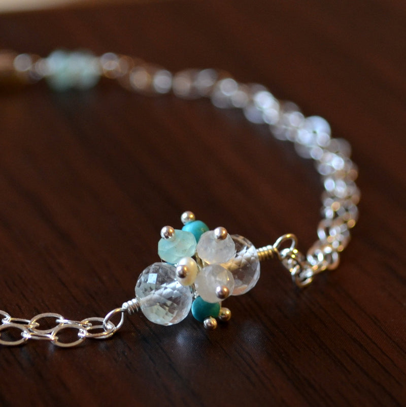 Crystal Quartz, Turquoise, Freshwater Pearl, Moonstone, and Chalcedony Cluster