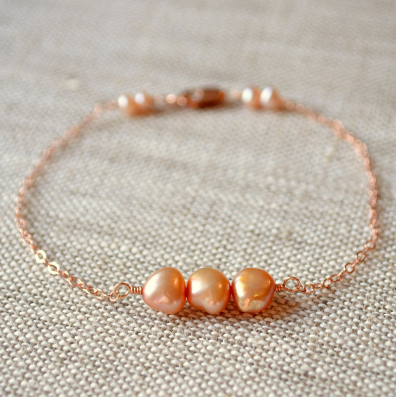 Rose Gold Bracelet with Champagne Taupe Peach Pearls