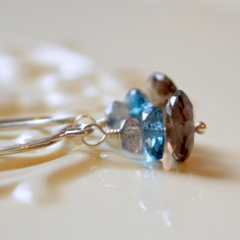 Gemstone Earrings with Smoky Quartz, London Blue Topaz and Labradorite Stacks