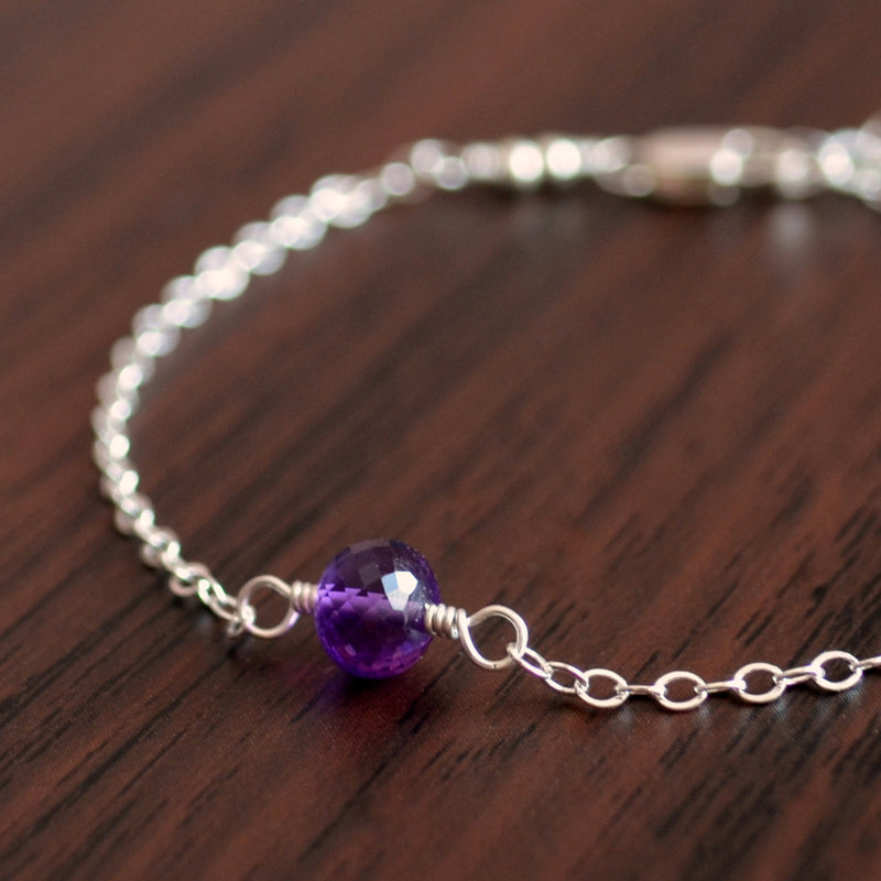 Simple Real Amethyst Bracelet in Sterling Silver