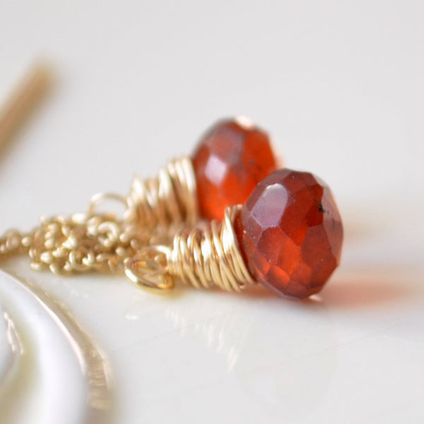 Hessonite Garnet Threader Earrings in Burnt Orange