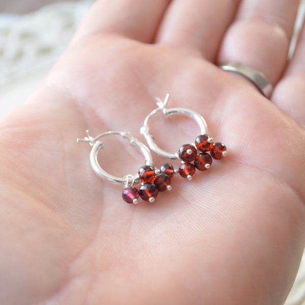 Real Garnet Hoop Earrings