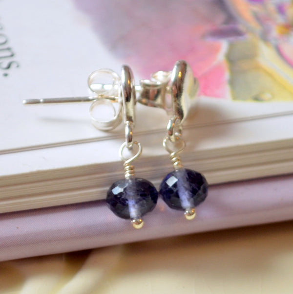 Iolite Dangle Earrings for Girls