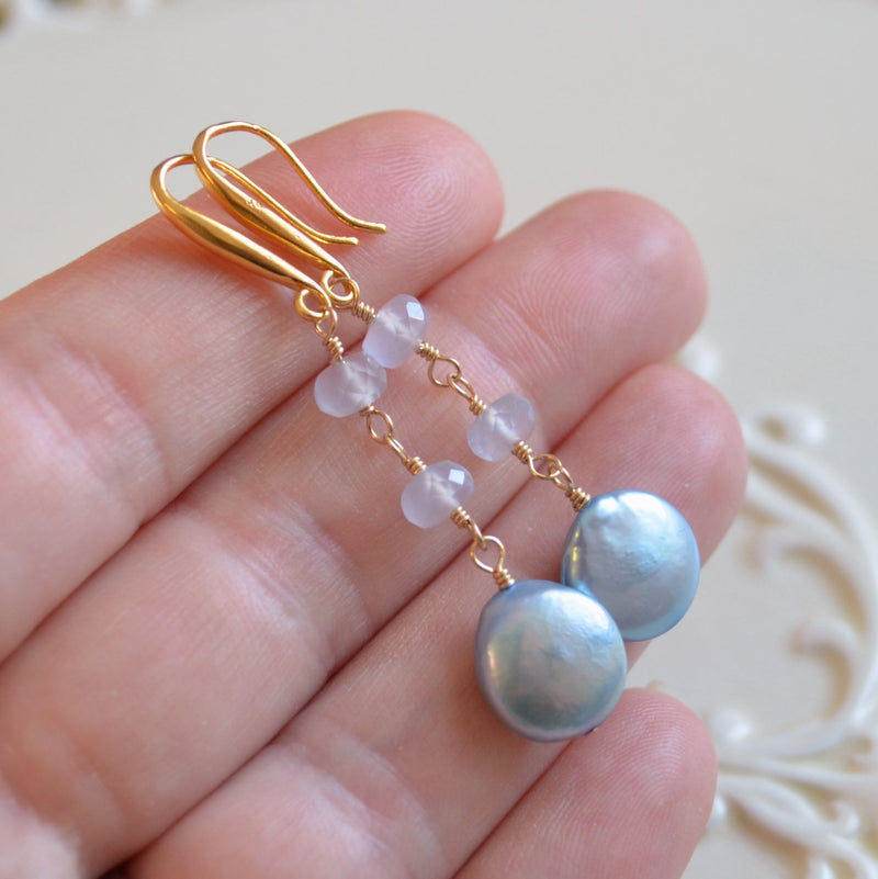 Powder Blue Earrings with Natural Chalcedony Gemstone
