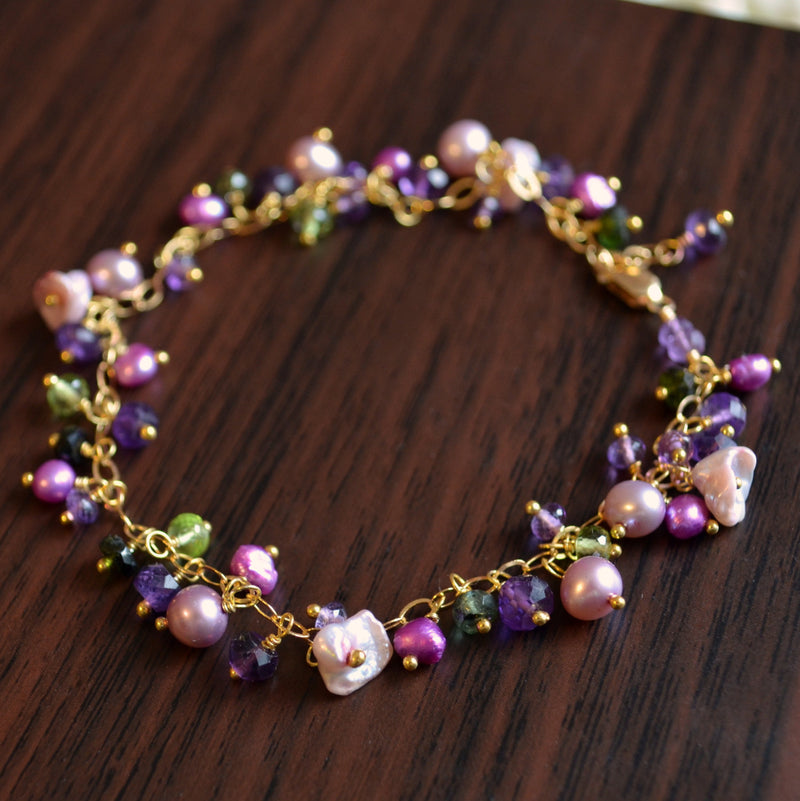 Delicate Cluster Bracelet with Amethysts and Pearls - Wisteria