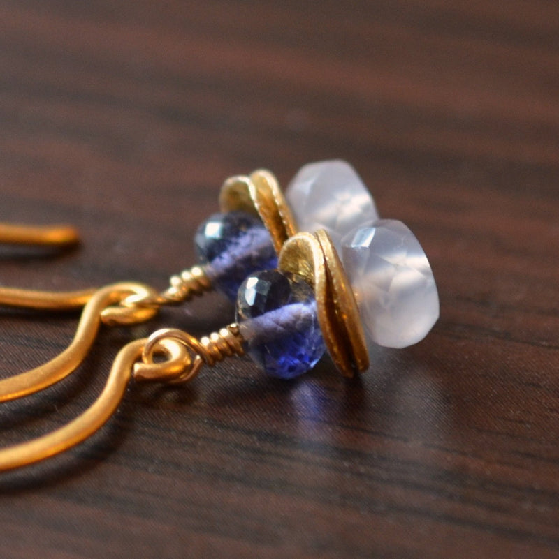 Gold Dangle Earrings, Lolite and Natural Chalcedony