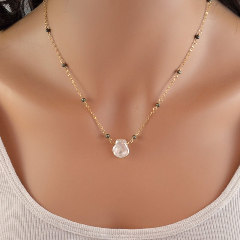 Keishi Pearl Necklace with Pyrite Chain and Real White Freshwater Pearl
