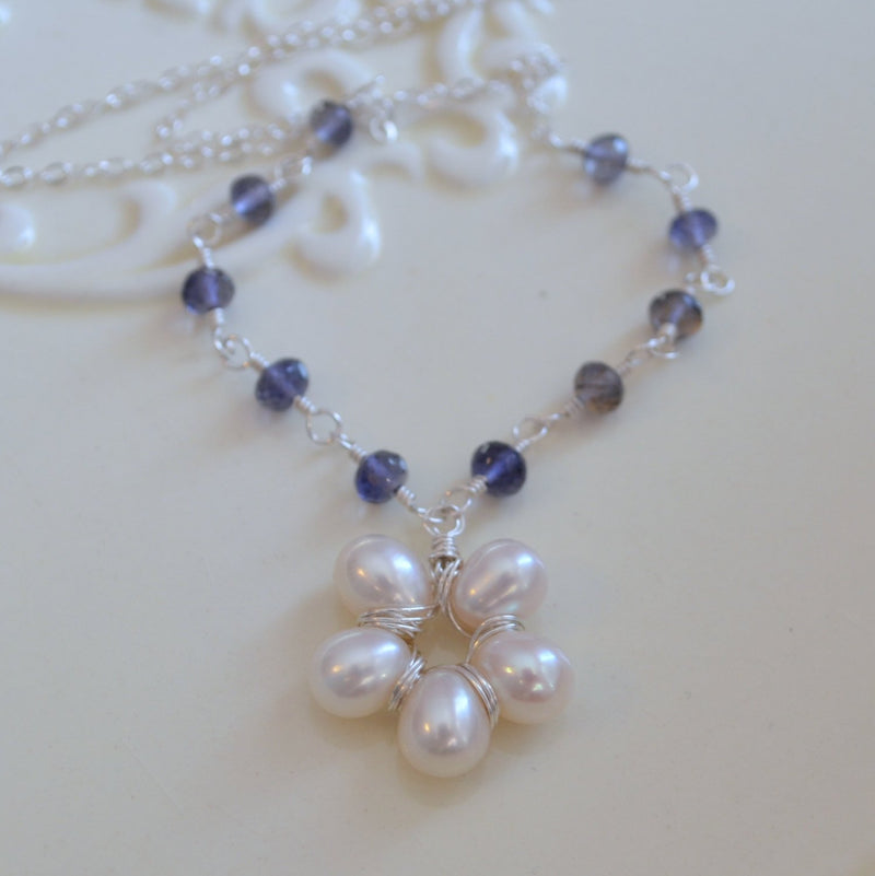 Pearl Flower Pendant Necklace with Iolite Gemstones