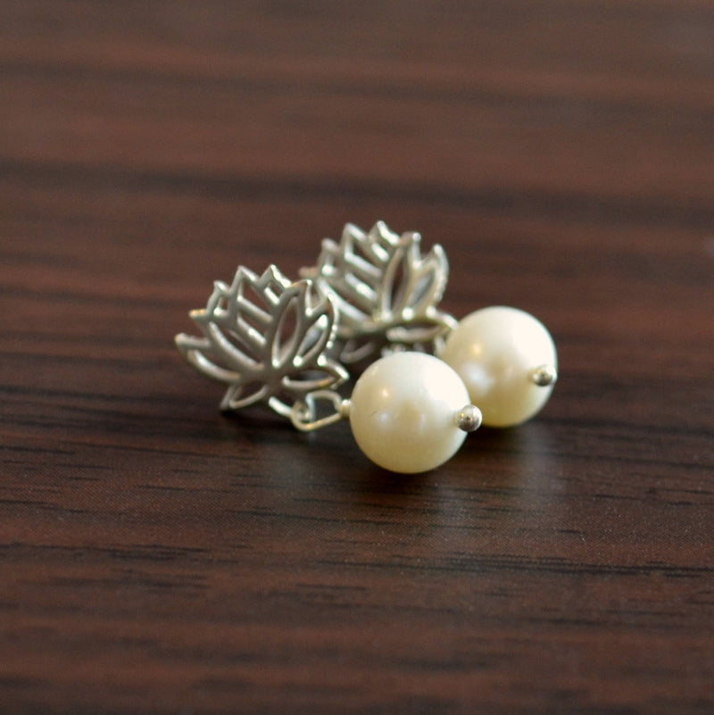 Real Pearl Dangle Earrings with Lotus Flower Posts
