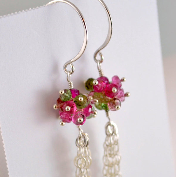 Long Tourmaline Earrings with Real Gemstone Clusters