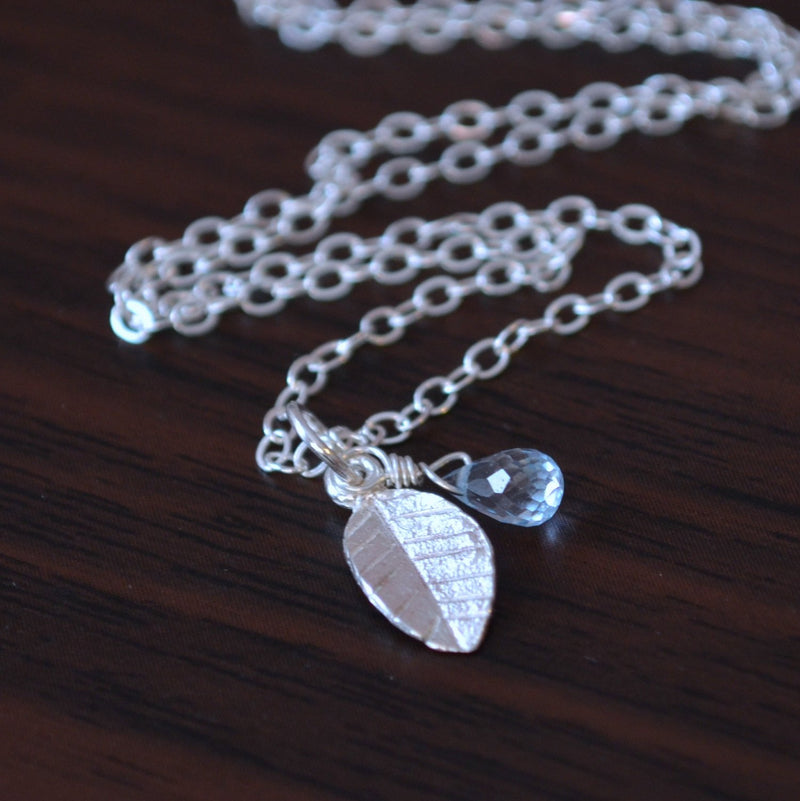 Leaf Necklace with Tiny Blue Topaz Gemstone