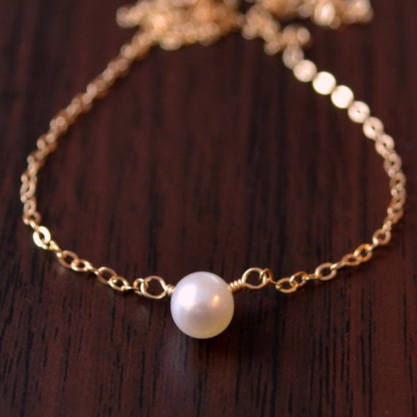 Simple Choker, Gold Sterling Silver, Real Freshwater Pearl