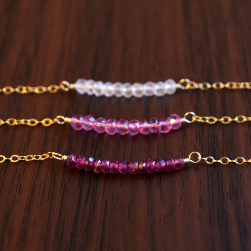 Gold Stacking Bracelet Set with Rose Quartz and Pink Topaz