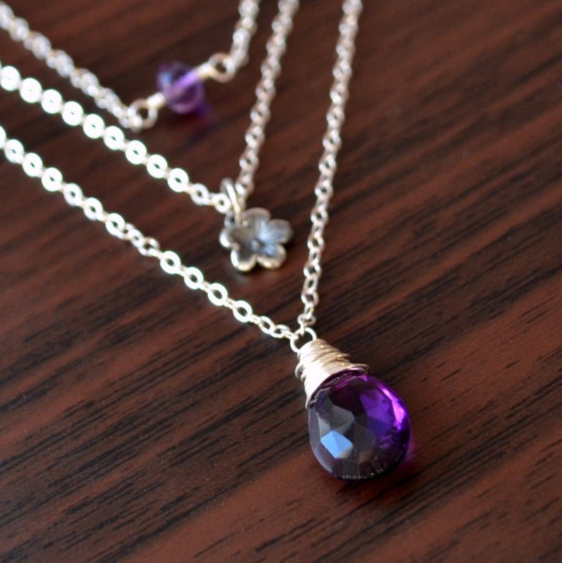 Real Amethyst Necklace, Sterling Silver Layering Set