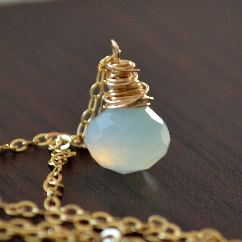 Pastel Blue Chalcedony Necklace
