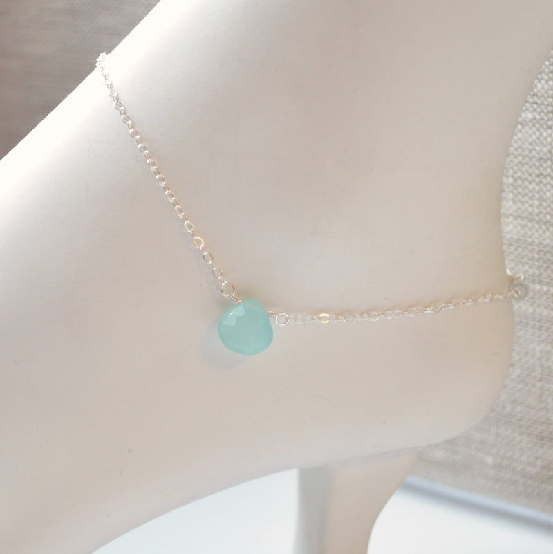 Sterling Silver Anklet with Aqua Gemstone