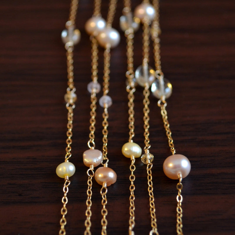 Long Gold Necklace with Pearls Scapolite and Citrine Gemstones - Pink Champagne