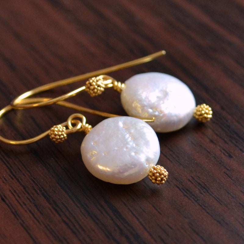 White Coin Pearl Earrings, Real Freshwater Pearl
