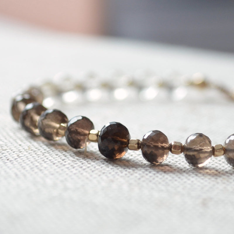 Smoky Quartz Jewelry, Beaded Bracelet