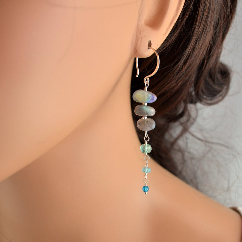 Long Labradorite Earrings with Aqua Apatite Gemstones