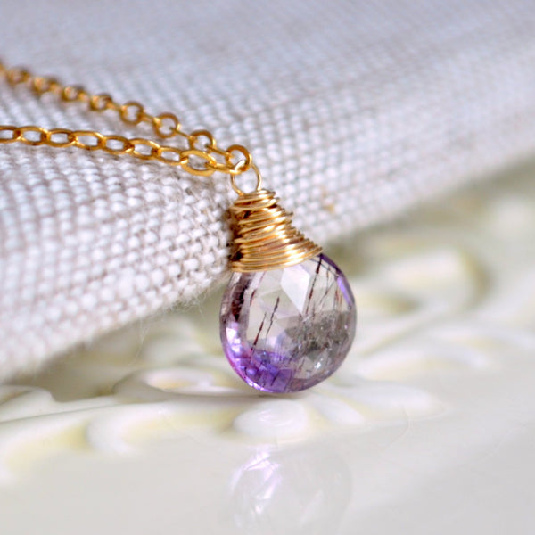 Gemstone Necklace with Moss Amethyst