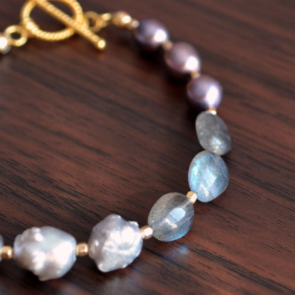 Real Pearl Bracelet with Labradorite