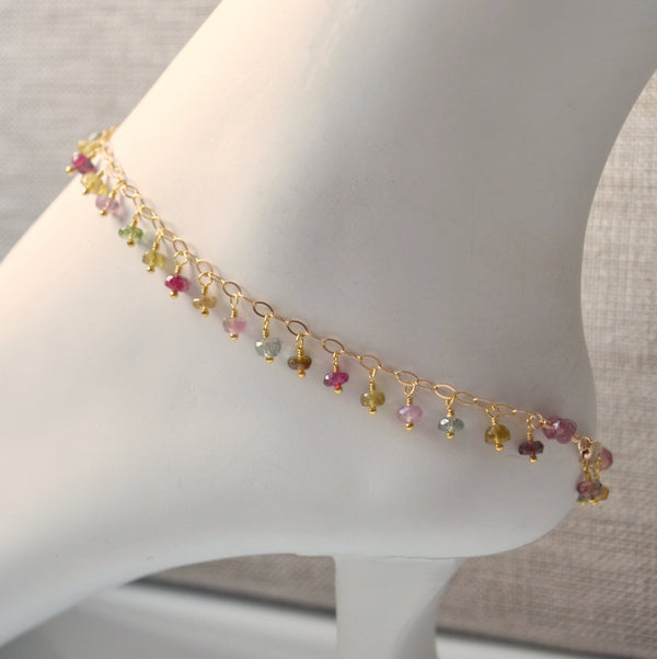 Gold Anklet, Tourmaline, Real Gemstone Fringe