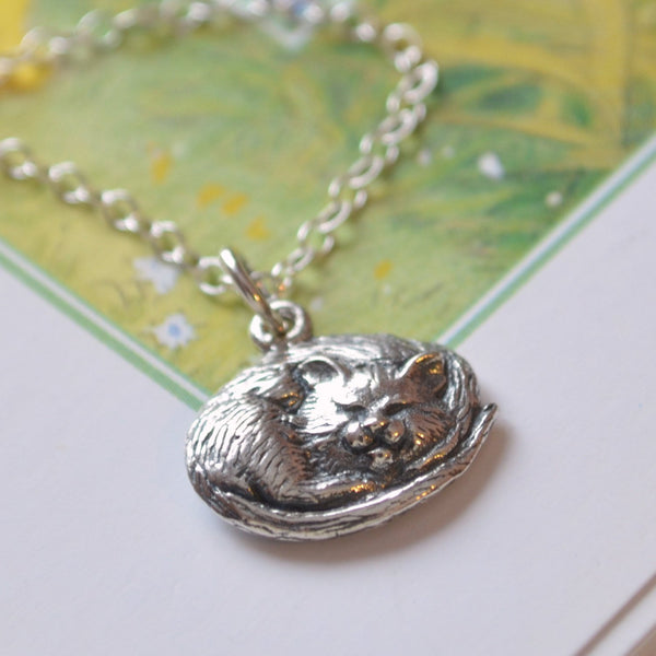 Sleeping Cat Necklace in Sterling Silver